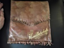 GENUINE VINTAGE SOFT FRINGED LEATHER GILDED HANDKERCHIEF CASE GOLD TAFFETA LINED